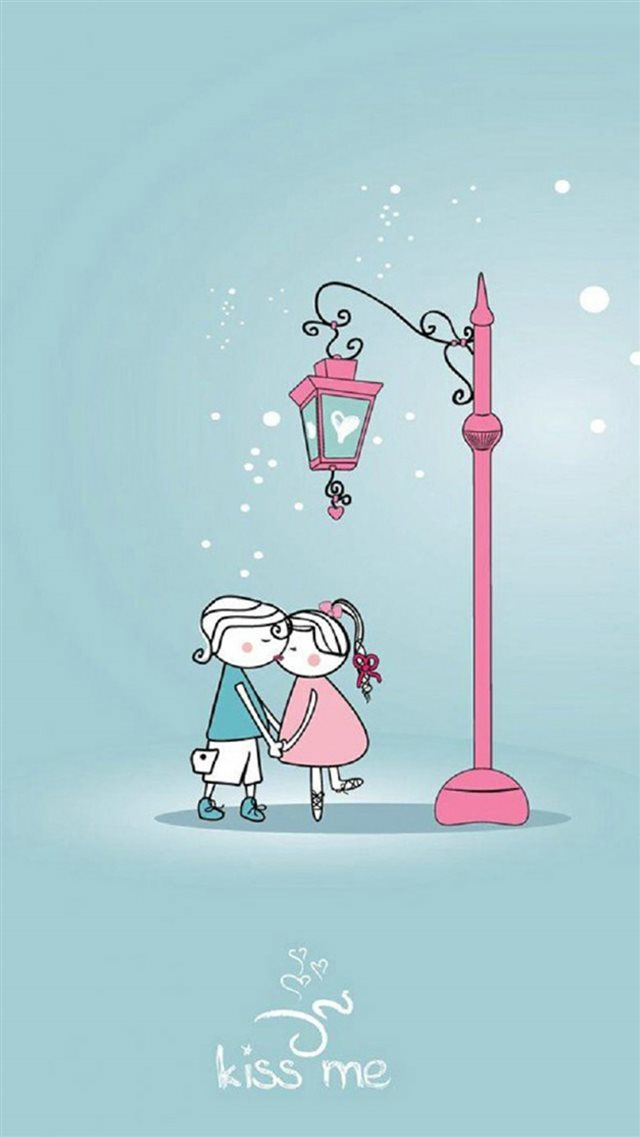 Cute Lover Couple Under Streetlight iPhone 8 wallpaper