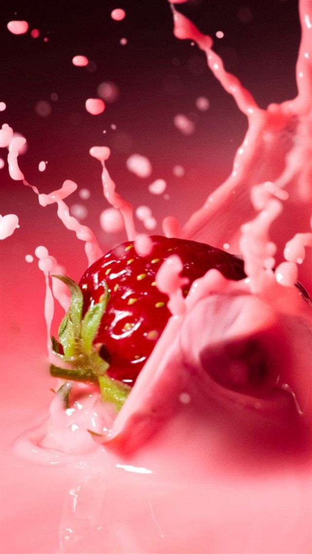 Strawberry Milk Spatter iPhone 8 wallpaper