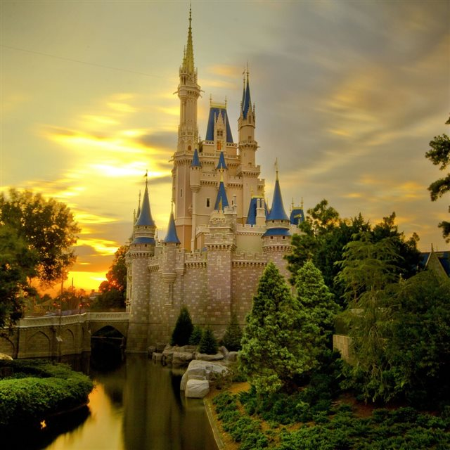 Sunset Over Cinderella's Castle iPad wallpaper