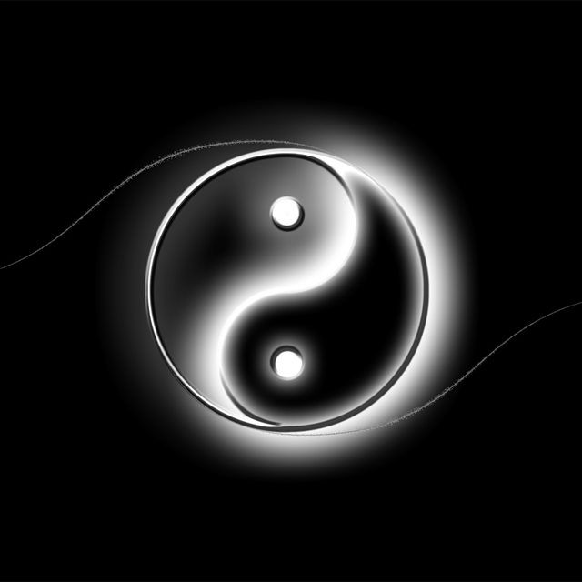 Yin And Yang Logo Art iPad wallpaper