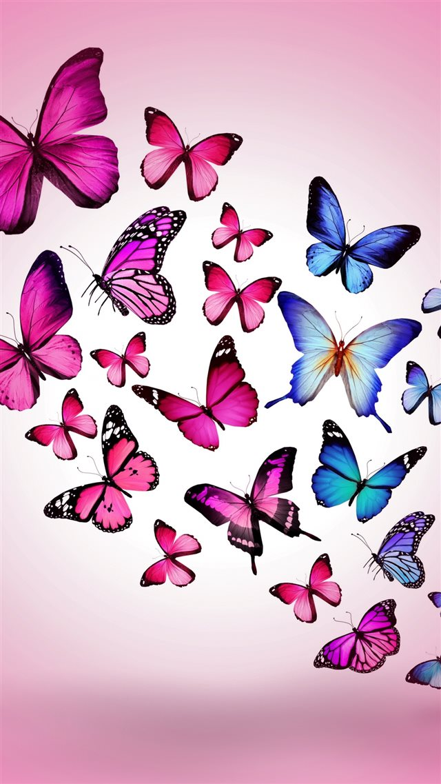 Butterfly Drawing Flying Colorful Background Pink iPhone 8 wallpaper