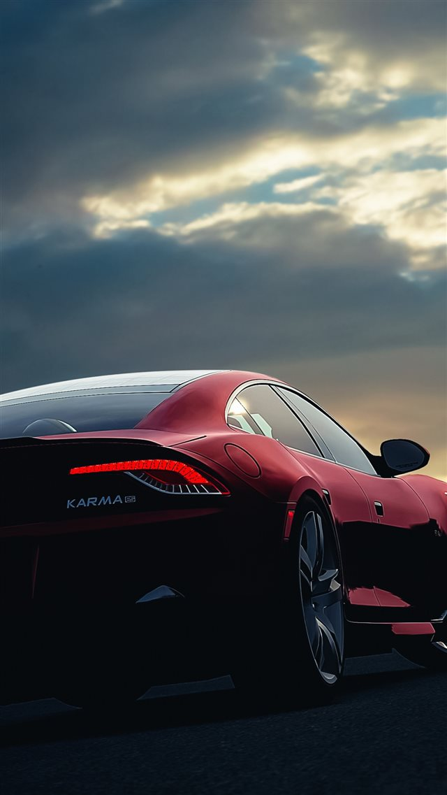 Fisker Karma Car Sunset Night Sky iPhone 8 wallpaper