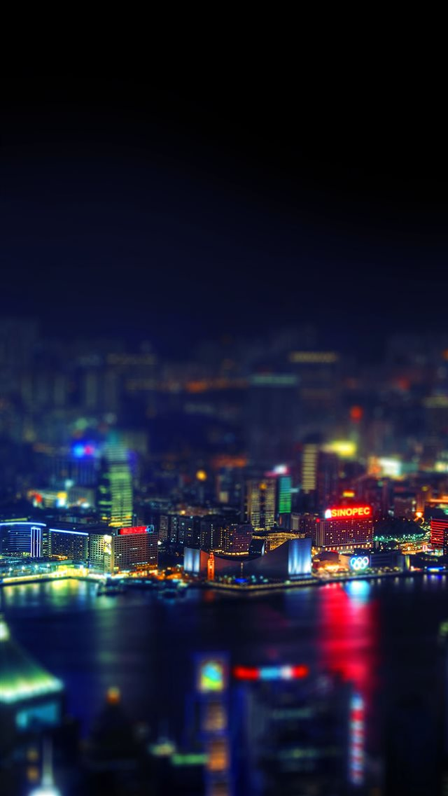 Hongkong Night Cityscape Light iPhone 8 wallpaper