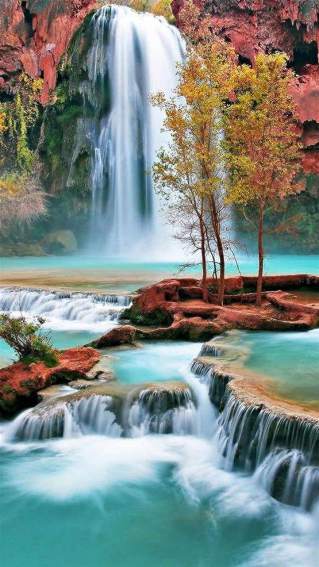 Nature Autumn Waterfall Landscape iPhone 8 wallpaper