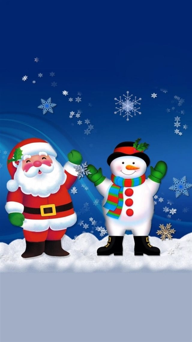 Merry Christmas Santa Claus And Snowman iPhone 8 wallpaper