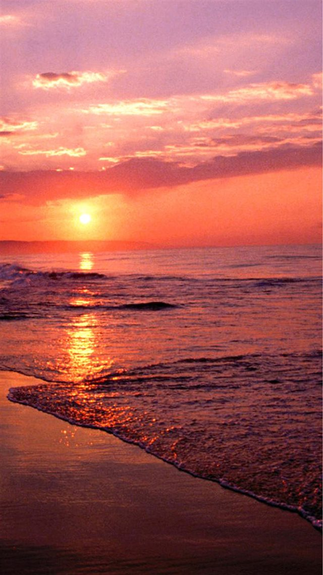 Nature Sunset Sea Beach iPhone 8 wallpaper