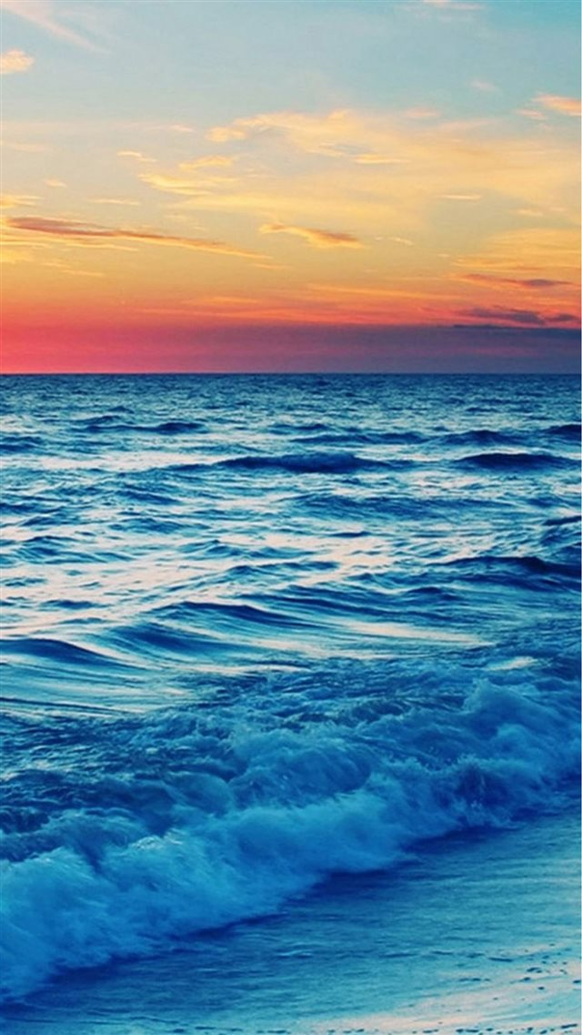 Nature Sunset Sea Wave Landscape iPhone 8 wallpaper