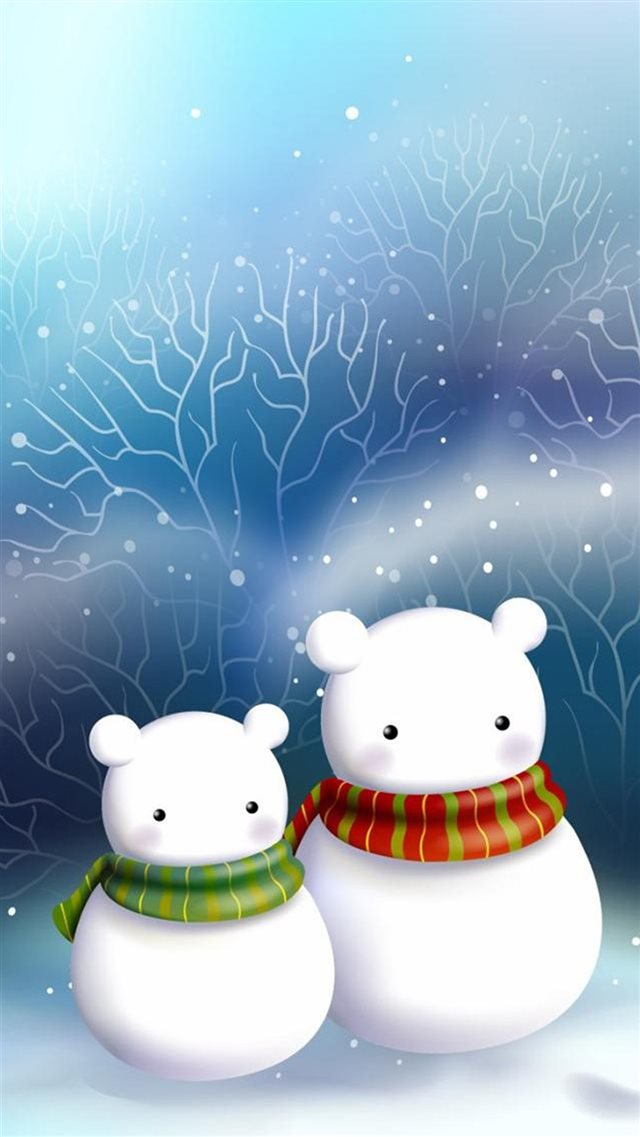Cute Snowman Bear Couple iPhone 8 wallpaper