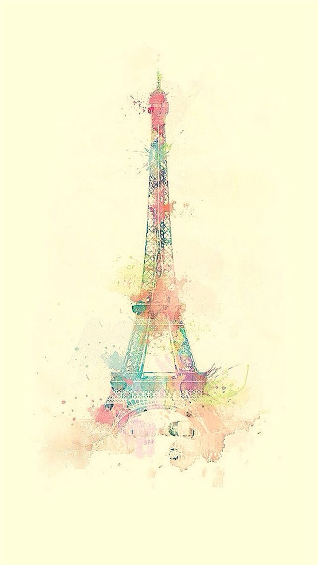 Eiffel Tower Watercolor Paint iPhone 8 wallpaper