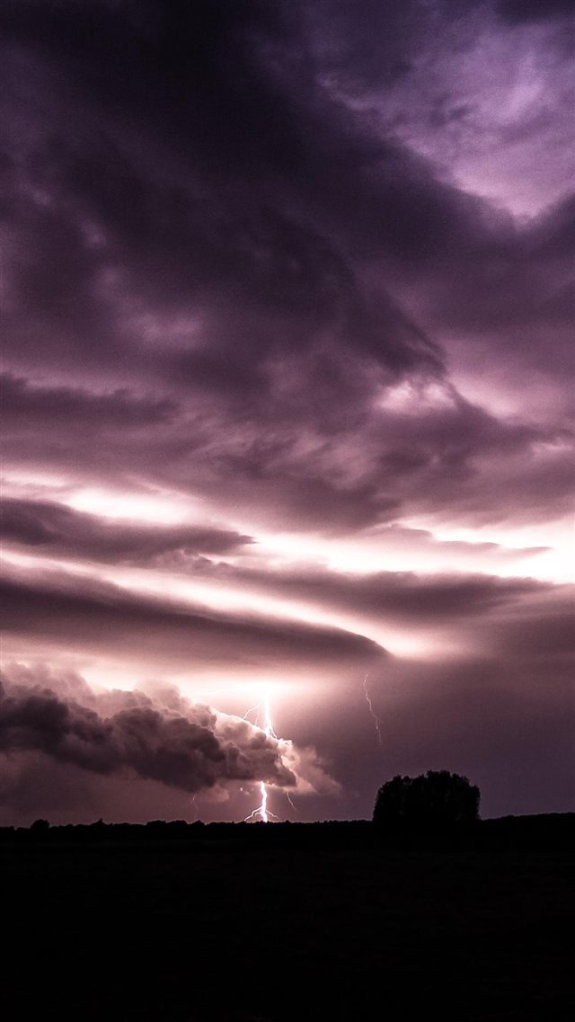 Purple Clouds Lightning Over Field Iphone 8 Wallpaper Download