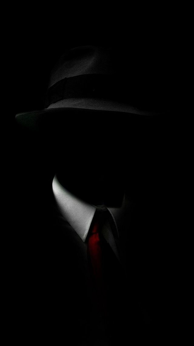 Shadow Man Black Suit Hat Red Tie iPhone 8 wallpaper