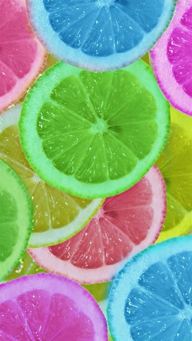 Abstract Colorful Lemon slices iPhone 8 wallpaper