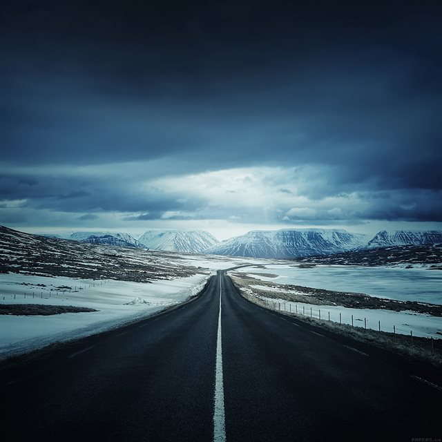 Road To Snow Mountain Nature Winter iPad wallpaper