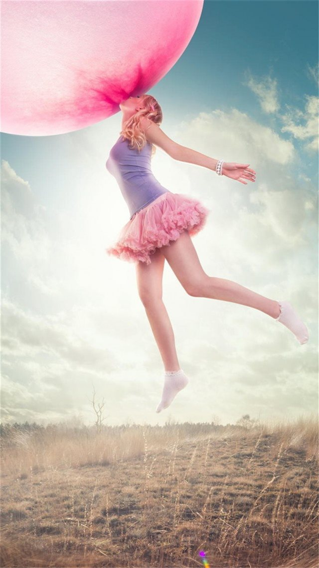 Dreamy Sport Young Jump Pink Balloon iPhone 8 wallpaper