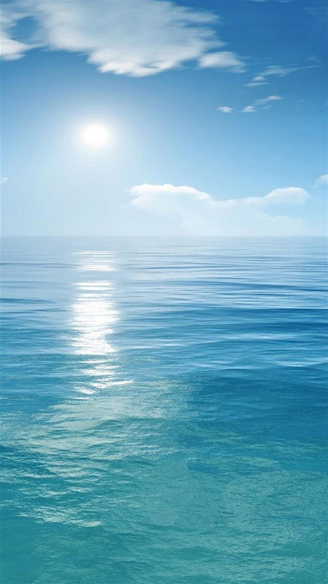 Sunny Clear Ocean Skyline Landscape iPhone 8 wallpaper