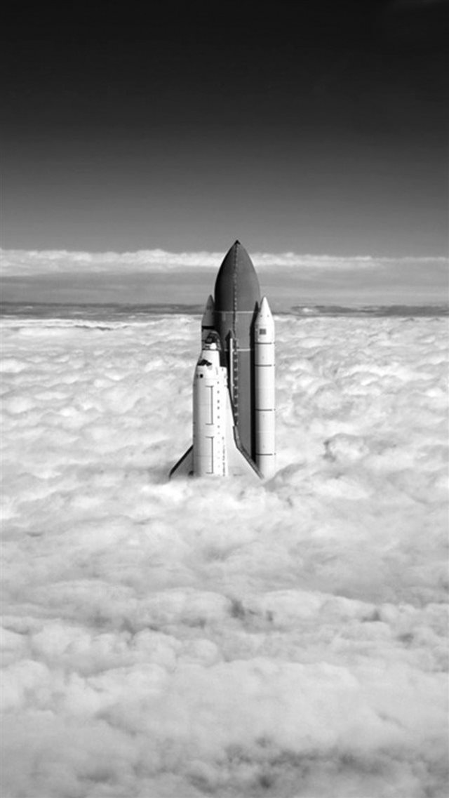Grayscale Rocket Up Towards Cloudy SKy iPhone 8 wallpaper