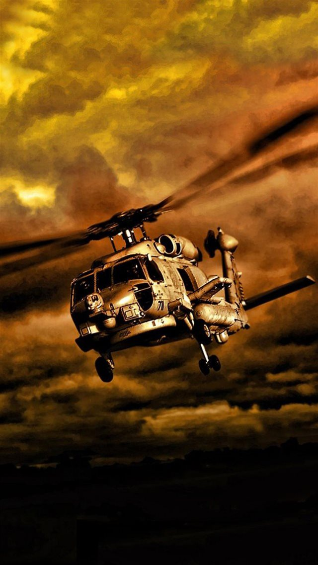 War Helicopters In Cloudy Sky iPhone 8 wallpaper
