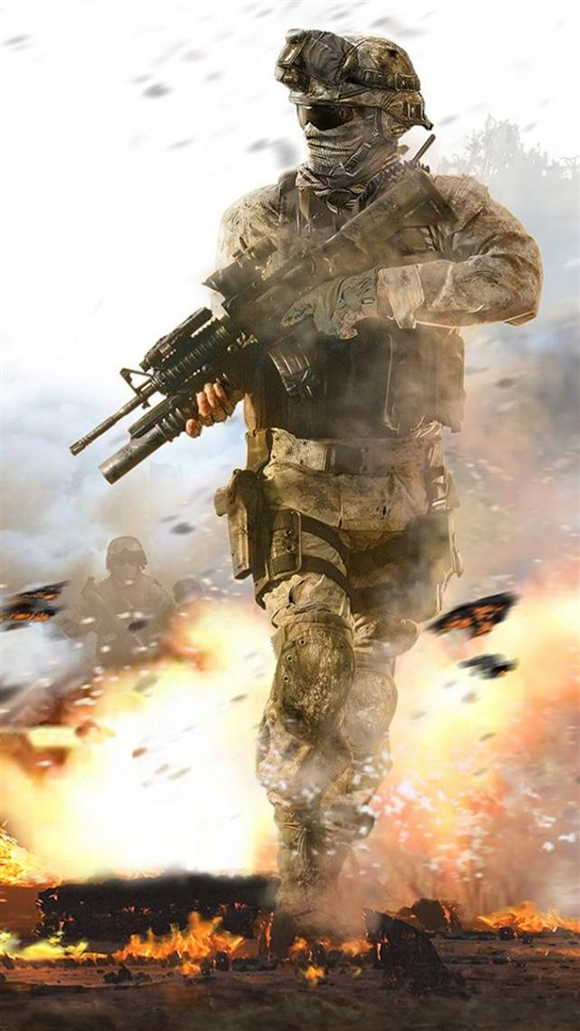 Fighting Soldier In Hail Of Bullets iPhone 8 wallpaper