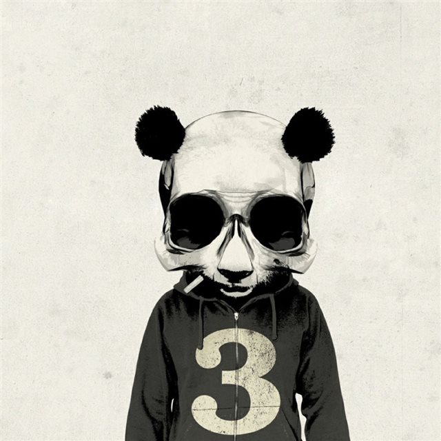 Smoking Panda Cartoon Art iPad wallpaper