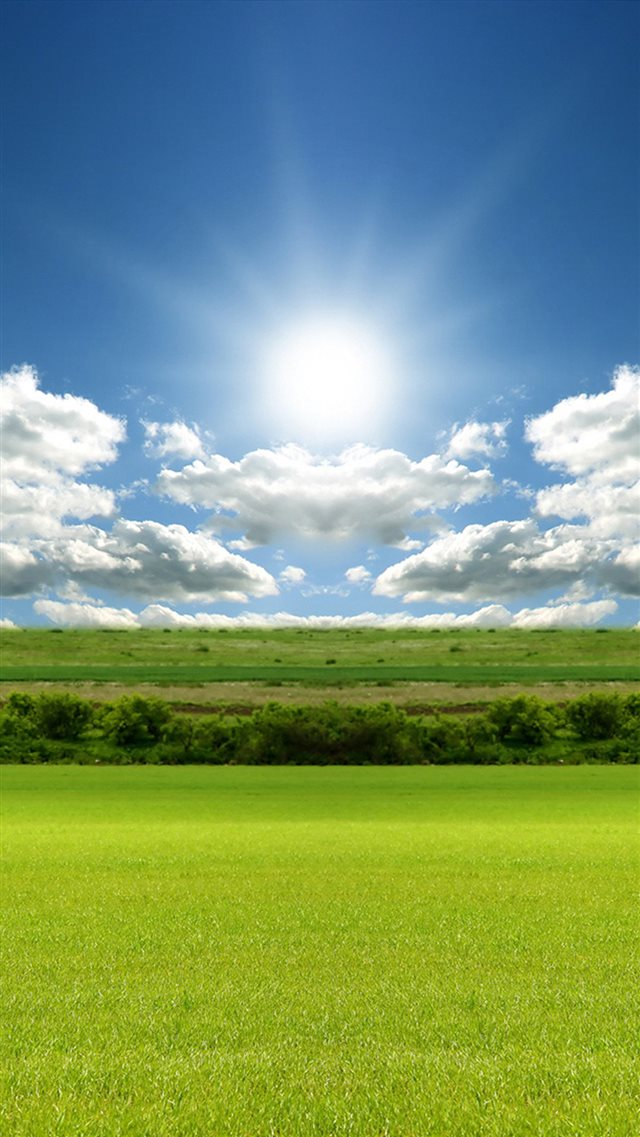 Nature Sunshine Grass Field Cloudy Skyscape iPhone 8 wallpaper