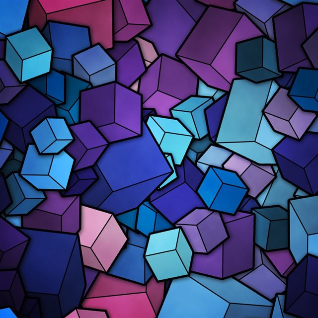 Abstract Blue Cube Stack iPad wallpaper