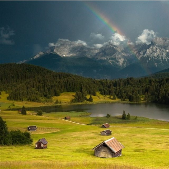 Rainbow Over Forest Mountains Landscape iPad wallpaper