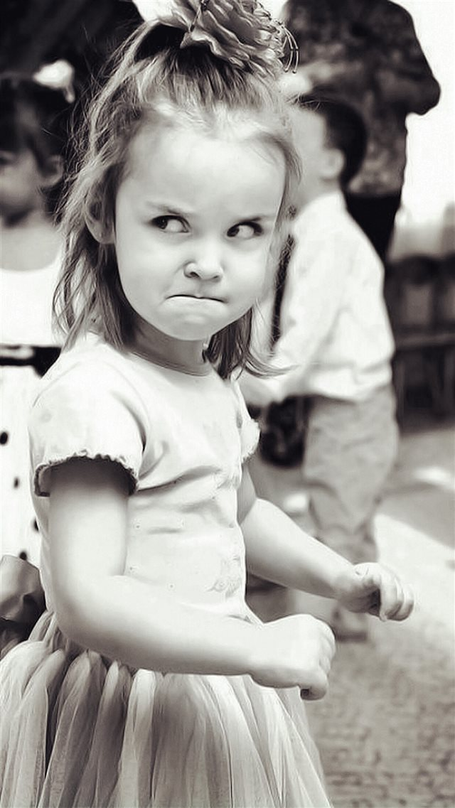Cute Angry Girl Expression Black And White iPhone 8 wallpaper