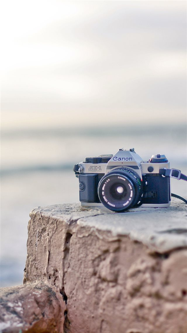 Canon Camera On Rock Stone iPhone 8 wallpaper
