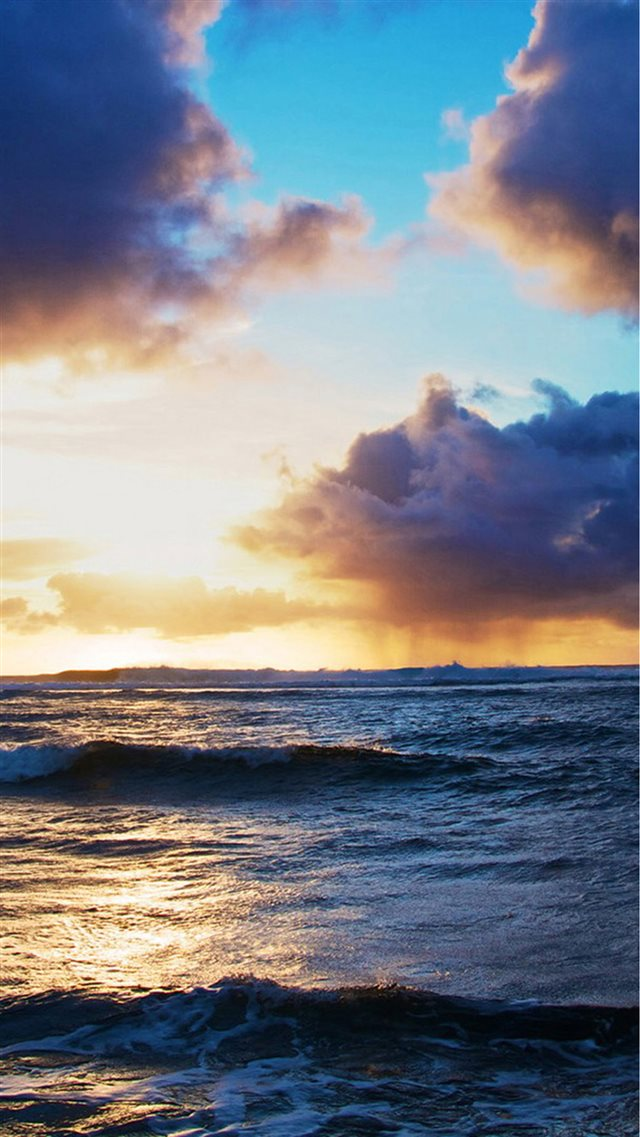 Ocean Beach Surging Wave Cloudy Sunny Skyscape iPhone 8 wallpaper