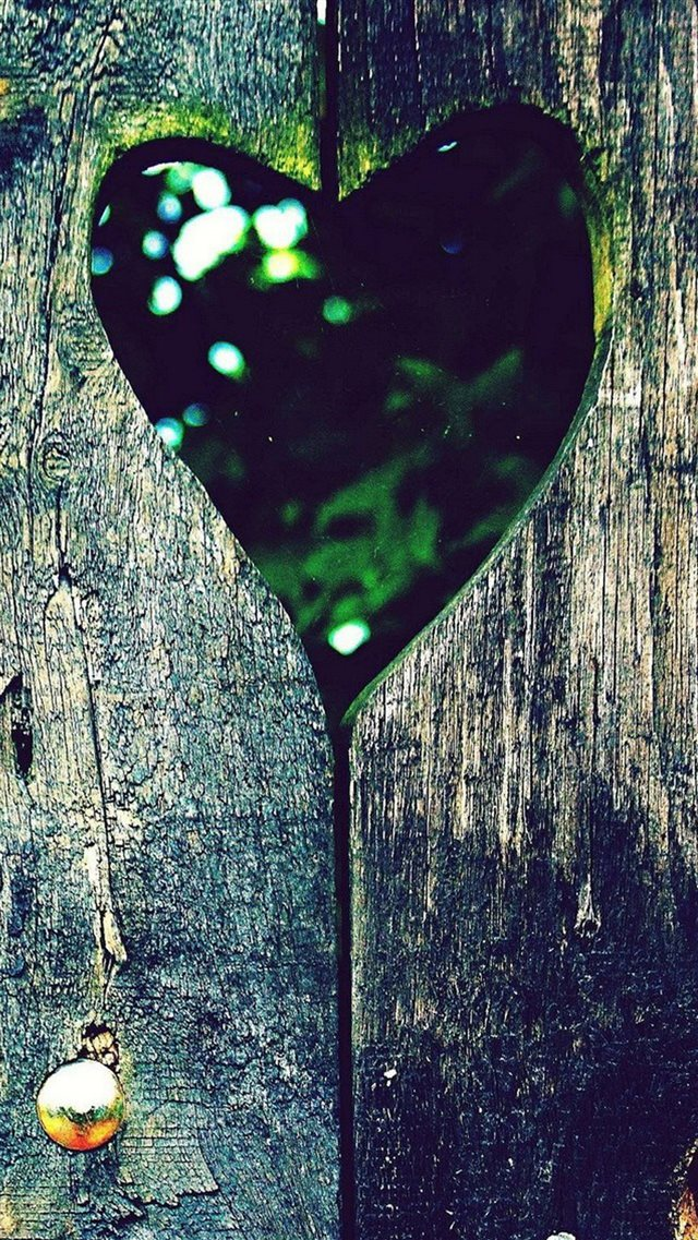 Love Heart Hole Scenery On Wood iPhone 8 wallpaper