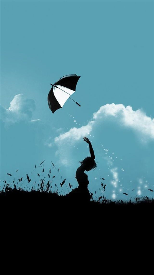 Hill Umbrella Throw At Cloudy Sky Aesthetic Art iPhone 8 wallpaper