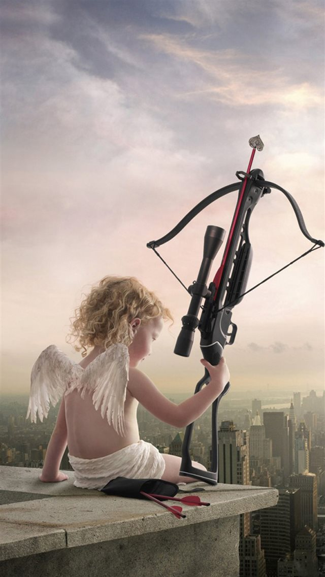 Rooftop Cupid Angel Love Bow Arrow iPhone 8 wallpaper