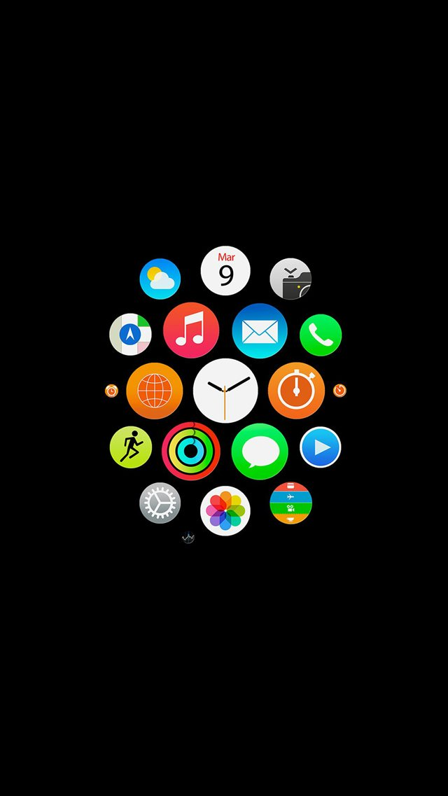 Apple Watch Icons Art Illust Dark iPhone 8 wallpaper