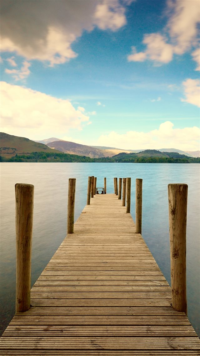 Pier River Mountain Distance Sky iPhone 8 wallpaper