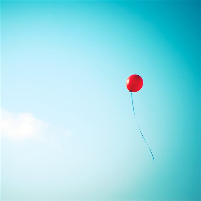 Nature Lonely Red Balloon In Blue Sky iPad wallpaper