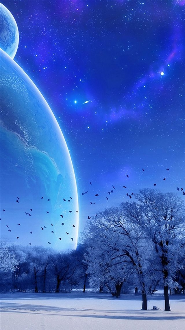 Fantasy Winter Skyscape Space View iPhone 8 wallpaper