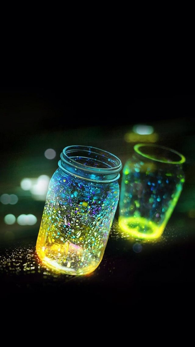 Fluorescence Glitter Glass Bottle In Bokeh Dark iPhone 8 wallpaper