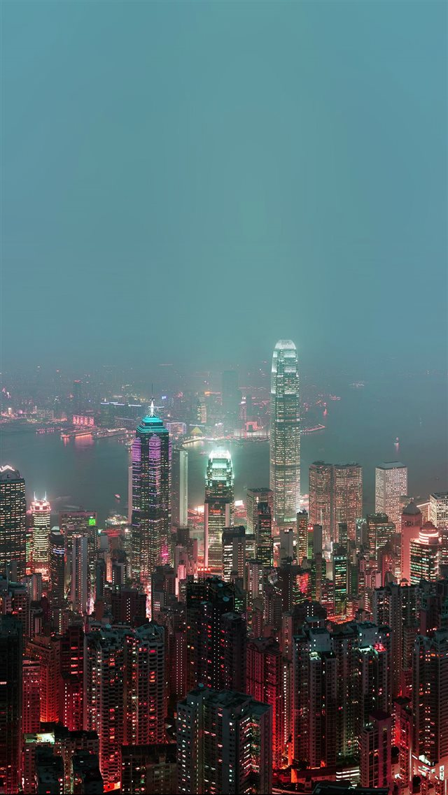 Skyline Hongkong Fire City Night Live iPhone 8 wallpaper