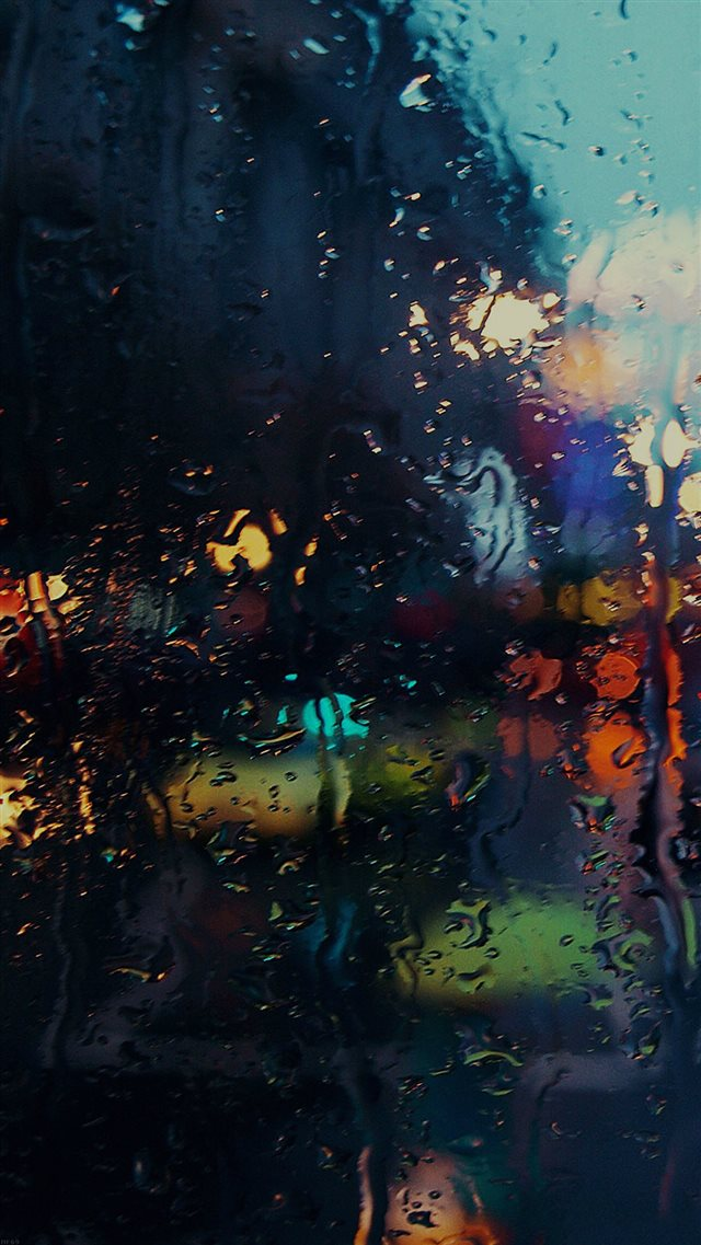 Raining Back Car Window Gloomy Dark Street iPhone 8 wallpaper