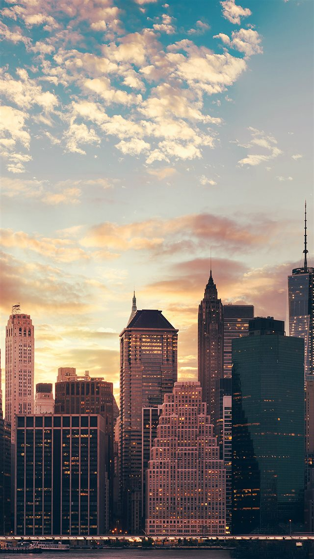 Cityscape Skyline High Buildings Skyscrapers Sunset iPhone 8 wallpaper