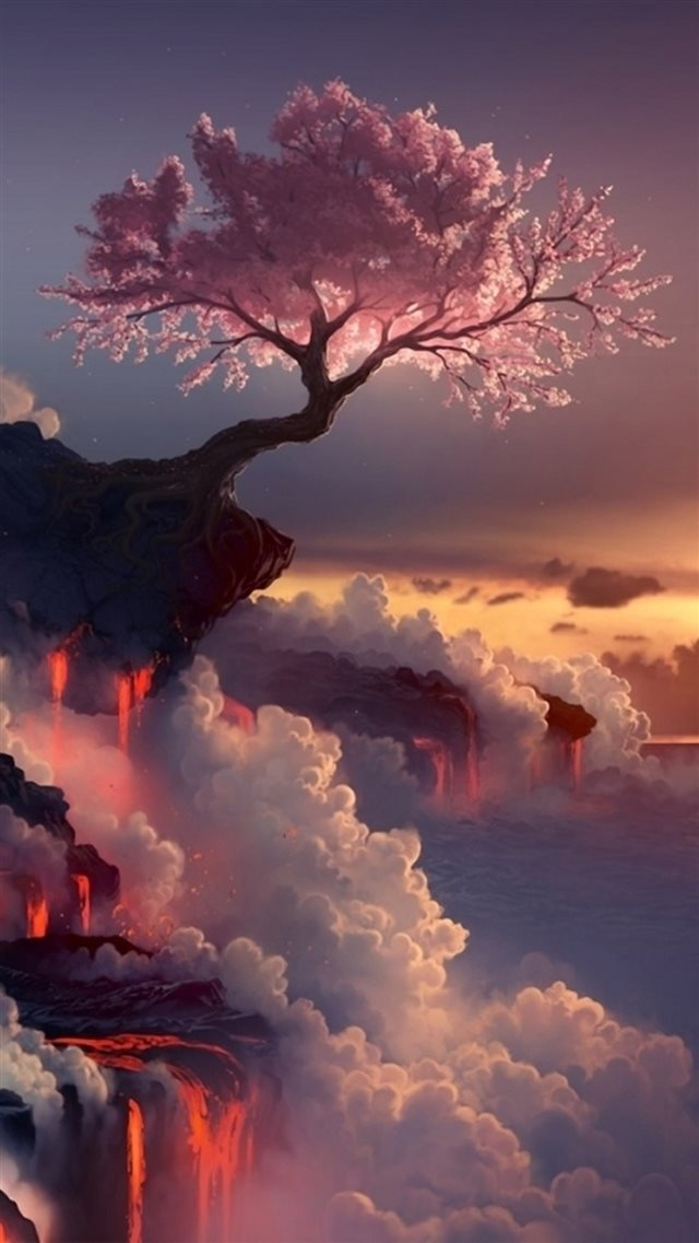 Fantasy Pink Cherry Blossoms Cloudy Mountain Top Skyscape Paint Art iPhone 8 wallpaper