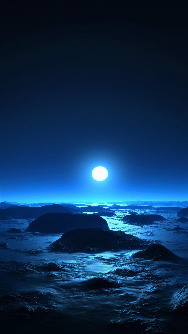 Alien Moon Over Ocean Rock Beach Cold Moonlight iPhone 8 wallpaper