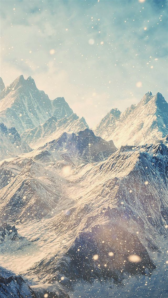 Himalayan Mountains Landscape Snowfall iPhone 8 wallpaper