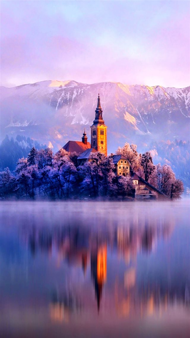 Lake Monastery Fortress Winter iPhone 8 wallpaper