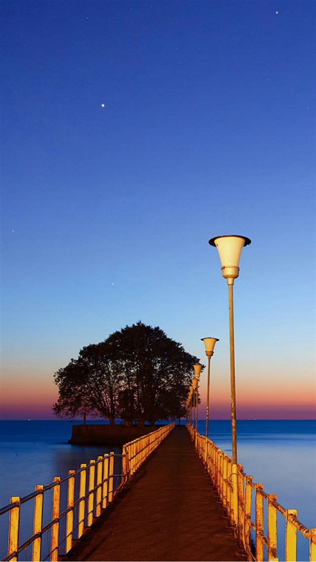 Sunset Wood Dock Street Lights iPhone 8 wallpaper