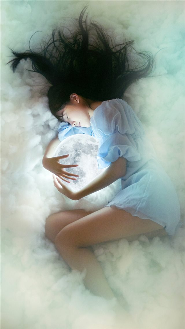 Dreamy Hug Shiny Moon Sleepy Girl iPhone 8 wallpaper