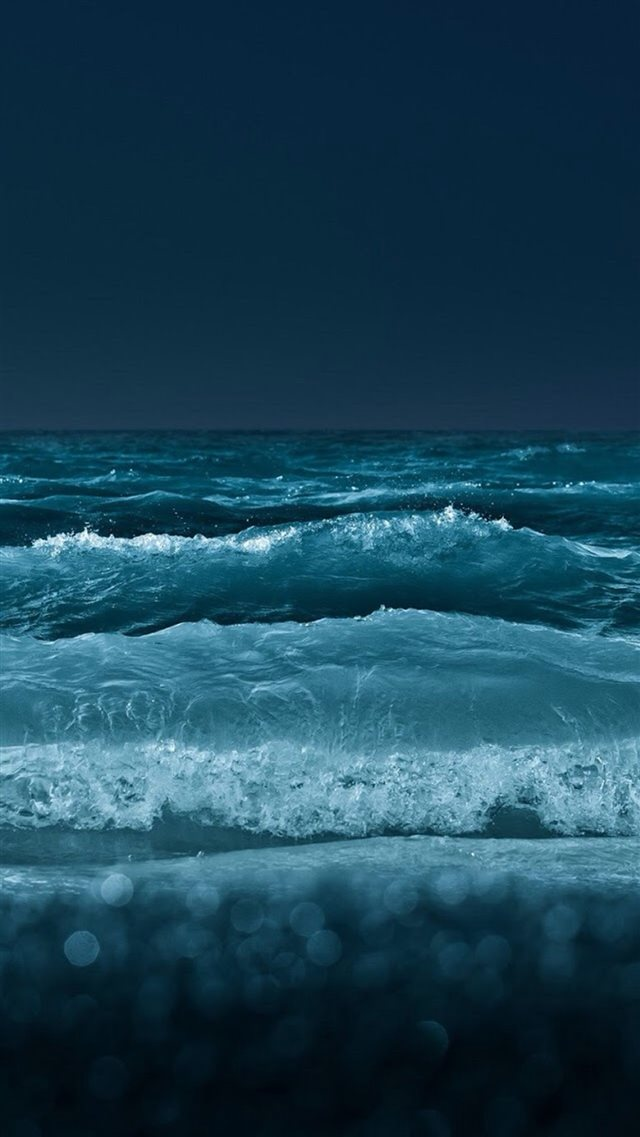 Nature Night Ocean Beach Wave Bokeh iPhone 8 wallpaper