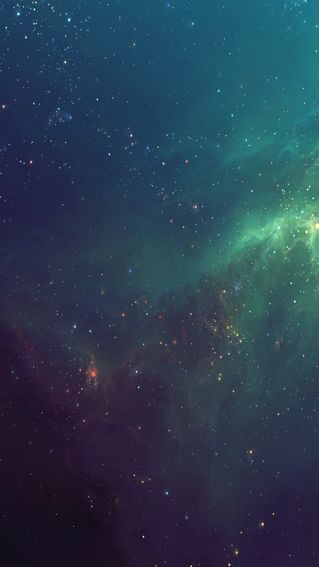 Fantasy Shiny Starry Green Nebula Starry Space Skyscape iPhone 8 wallpaper