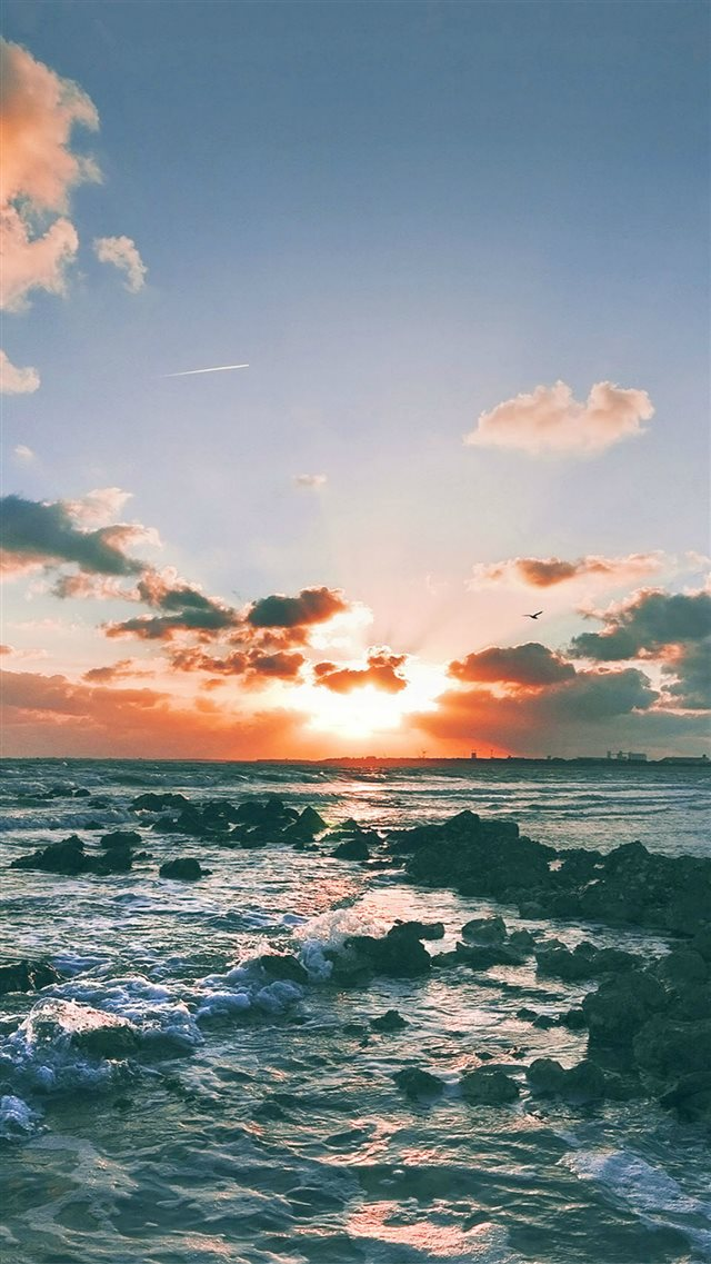 Nature Ocean Sunset Landscape iPhone 8 wallpaper