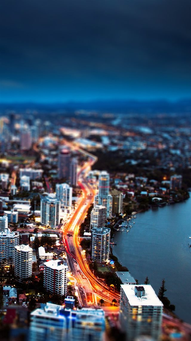 Nature Riverbank City Night View iPhone 8 wallpaper